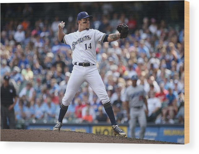 People Wood Print featuring the photograph Los Angeles Dodgers v Milwaukee Brewers by Dylan Buell