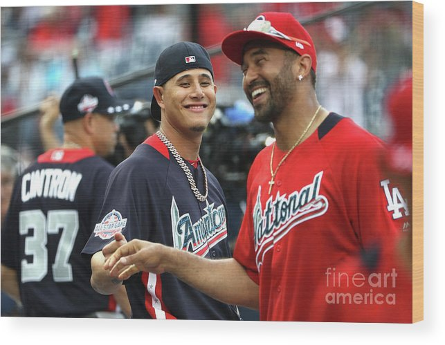 People Wood Print featuring the photograph Manny Machado and Matt Kemp by Patrick Smith
