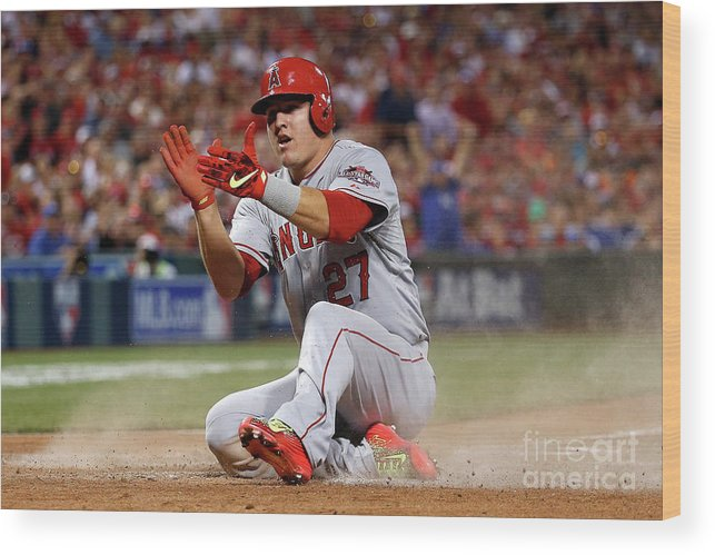 Great American Ball Park Wood Print featuring the photograph Mike Trout by Rob Carr
