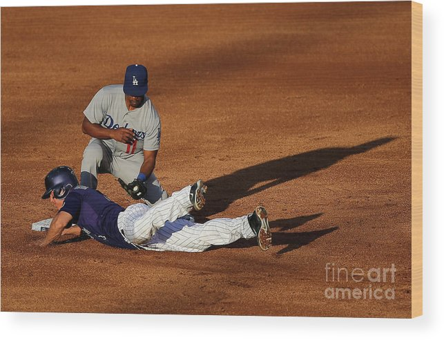 Game Two Wood Print featuring the photograph Nick Hundley and Jimmy Rollins by Doug Pensinger