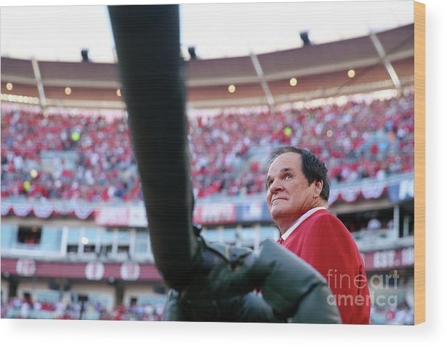 Great American Ball Park Wood Print featuring the photograph Pete Rose by Elsa