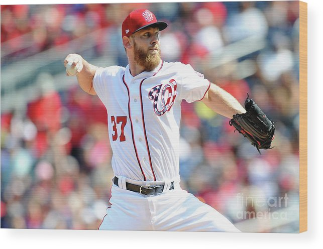 Three Quarter Length Wood Print featuring the photograph Stephen Strasburg by Greg Fiume