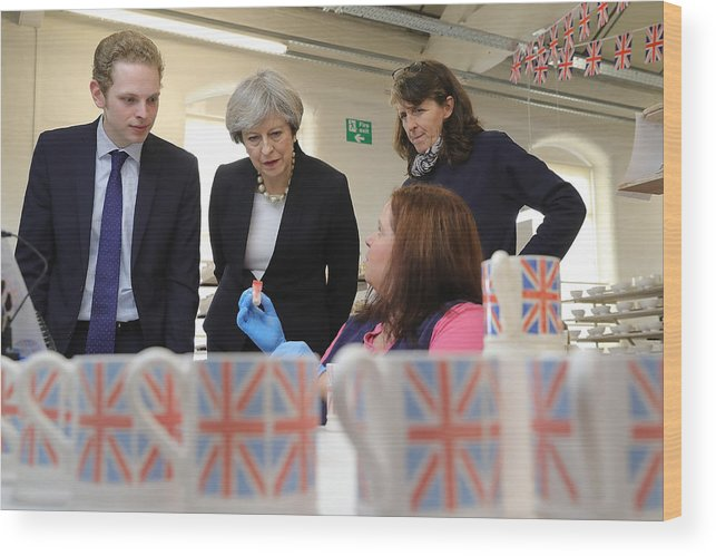 Democracy Wood Print featuring the photograph Theresa May Visits Stoke-On-Trent Central Ahead Of Thursday's By-election by Christopher Furlong