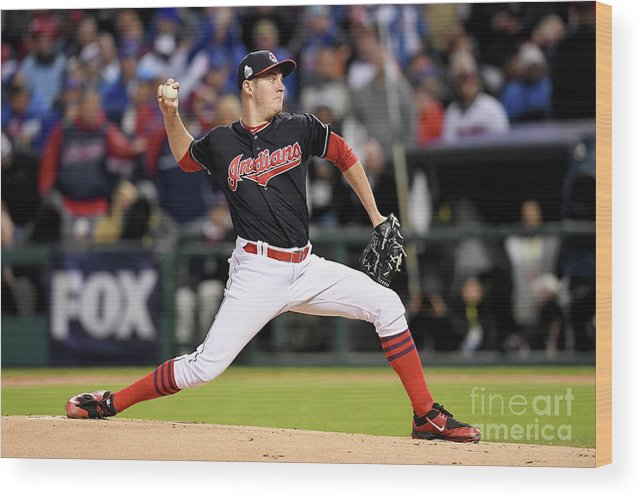 Game Two Wood Print featuring the photograph Trevor Bauer by Jason Miller