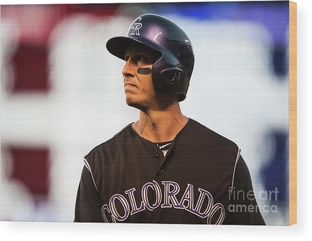 People Wood Print featuring the photograph Troy Tulowitzki by Dustin Bradford