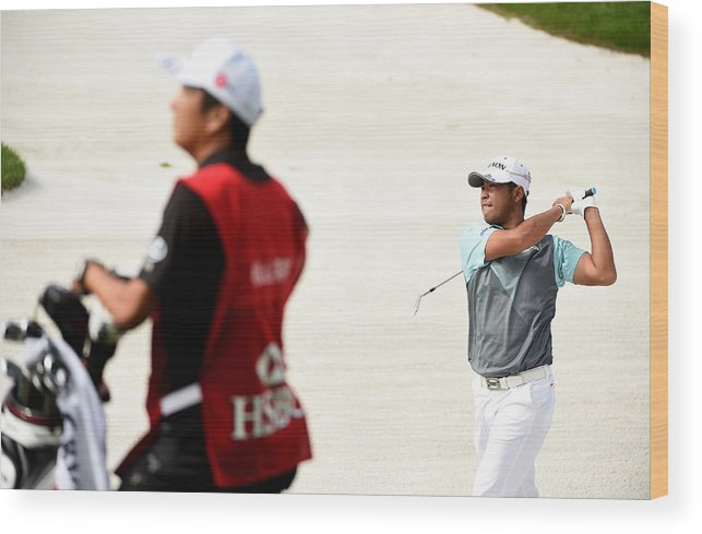 Three Quarter Length Wood Print featuring the photograph WGC - HSBC Champions: Day Two by Ross Kinnaird