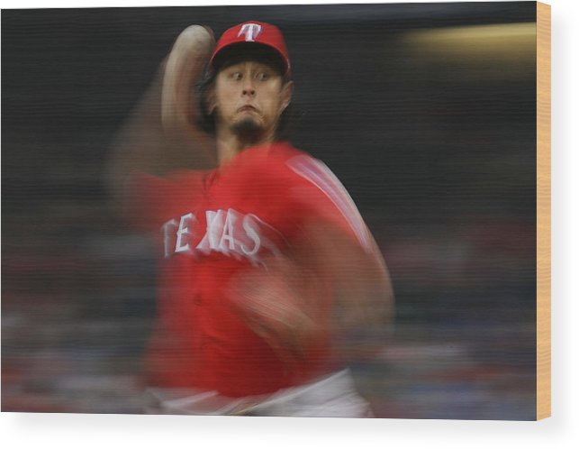 Game Two Wood Print featuring the photograph Yu Darvish by Ronald Martinez