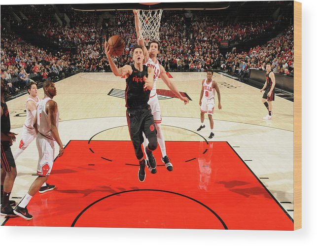 Nba Pro Basketball Wood Print featuring the photograph Zach Collins by Cameron Browne