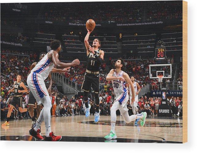 Atlanta Wood Print featuring the photograph 2021 NBA Playoffs - Philadelphia 76ers v Atlanta Hawks by Jesse D. Garrabrant