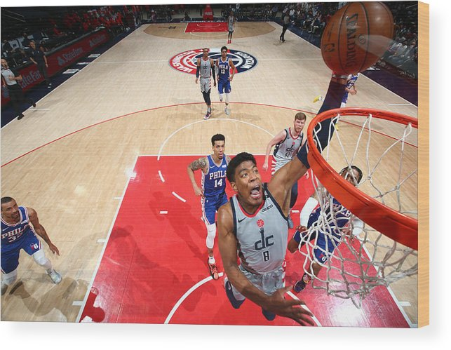 Playoffs Wood Print featuring the photograph 2021 NBA Playoffs - Philadelphia 76ers v Washington Wizards by Stephen Gosling