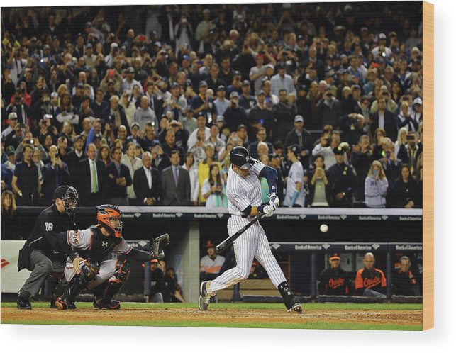 American League Baseball Wood Print featuring the photograph Derek Jeter by Al Bello