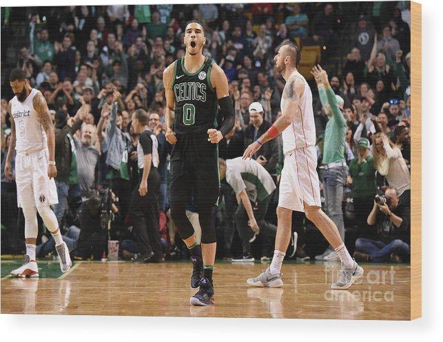 Nba Pro Basketball Wood Print featuring the photograph Jayson Tatum by Brian Babineau