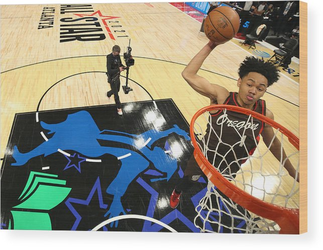 Atlanta Wood Print featuring the photograph 2021 NBA All-Star - AT&T Slam Dunk Contest by Joe Murphy