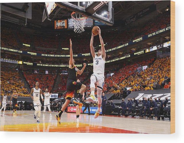 Playoffs Wood Print featuring the photograph 2021 NBA Playoffs - Memphis Grizzlies v Utah Jazz by Joe Murphy