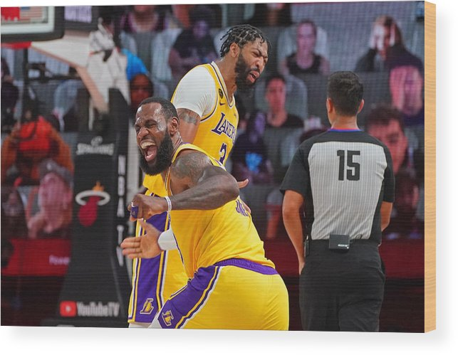 Playoffs Wood Print featuring the photograph Anthony Davis and Lebron James by Jesse D. Garrabrant