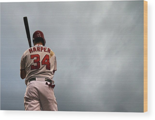 Three Quarter Length Wood Print featuring the photograph Bryce Harper by Patrick Smith