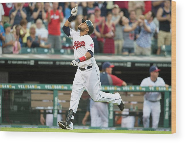American League Baseball Wood Print featuring the photograph Carlos Santana by Jason Miller