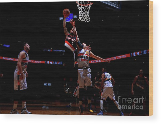 Nba Pro Basketball Wood Print featuring the photograph Damian Lillard by Bart Young