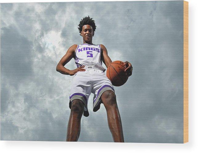 Nba Pro Basketball Wood Print featuring the photograph De'aaron Fox by Jesse D. Garrabrant