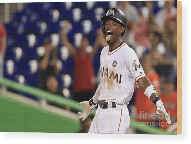 Three Quarter Length Wood Print featuring the photograph Dee Gordon by Mike Ehrmann