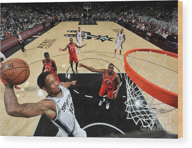 Nba Pro Basketball Wood Print featuring the photograph Demar Derozan by Mark Sobhani