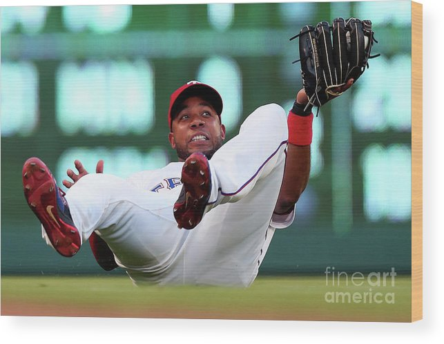 People Wood Print featuring the photograph Elvis Andrus by Tom Pennington