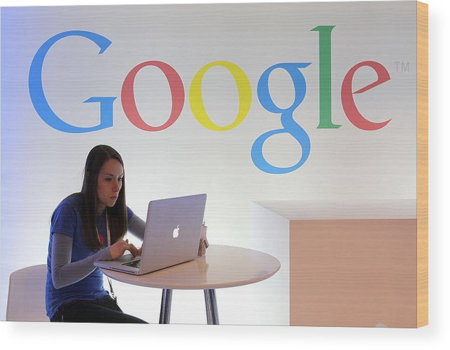 Working Wood Print featuring the photograph Google Holds News Conference by Justin Sullivan