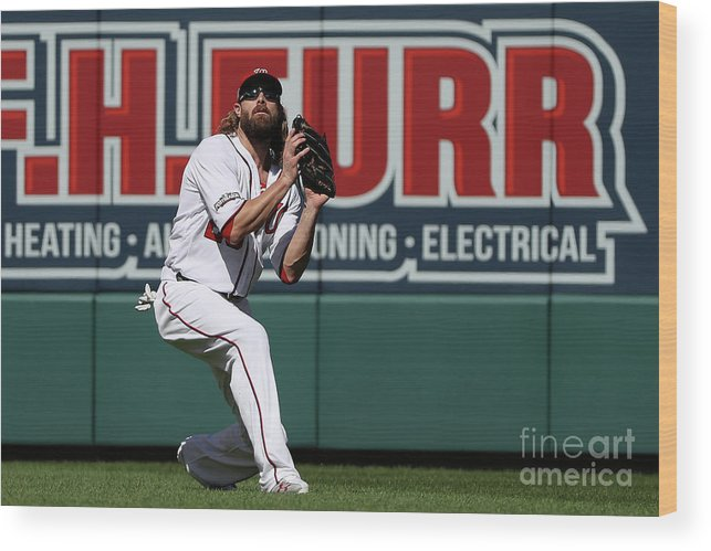 Game Two Wood Print featuring the photograph Jayson Werth by Patrick Smith