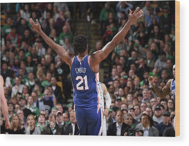 Nba Pro Basketball Wood Print featuring the photograph Joel Embiid by Brian Babineau