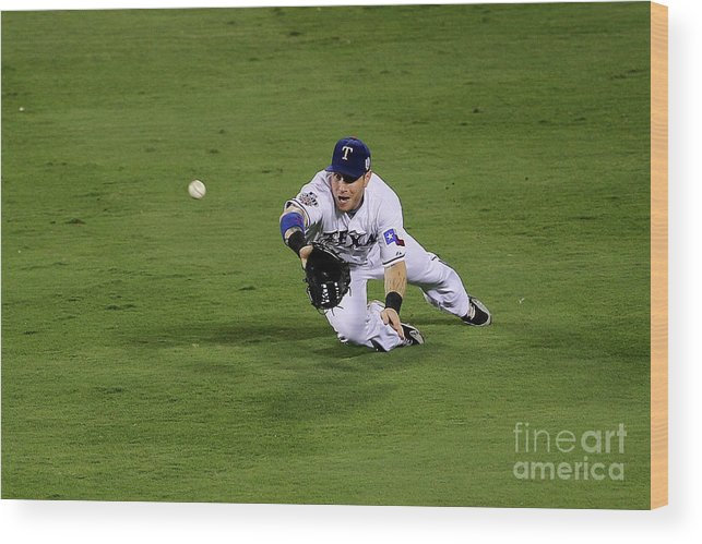 American League Baseball Wood Print featuring the photograph Josh Hamilton by Stephen Dunn