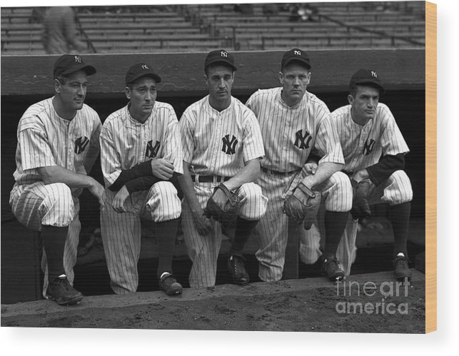 People Wood Print featuring the photograph Lou Gehrig by Kidwiler Collection