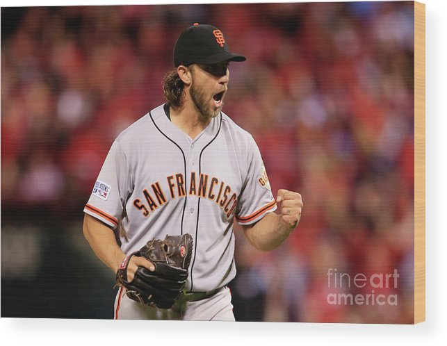 Celebration Wood Print featuring the photograph Madison Bumgarner by Jamie Squire