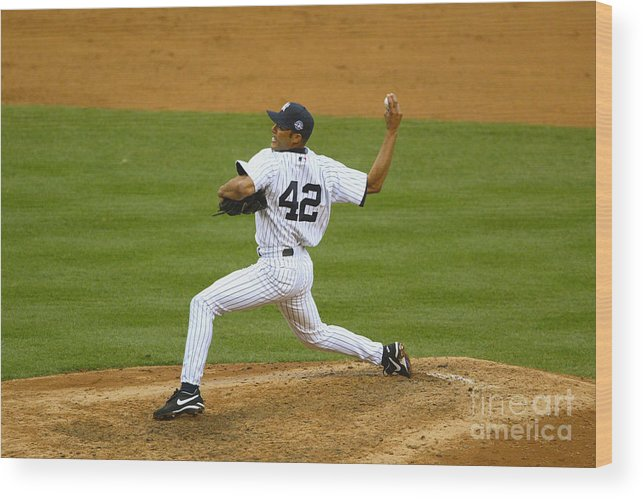 American League Baseball Wood Print featuring the photograph Mariano Rivera by Al Bello