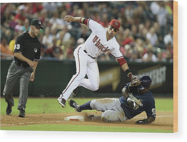 Ninth Inning Wood Print featuring the photograph Martin Prado by Christian Petersen