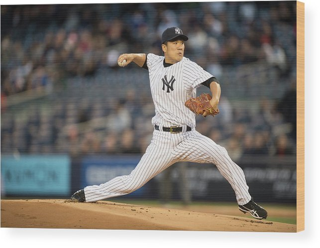 American League Baseball Wood Print featuring the photograph Masahiro Tanaka by Rob Tringali