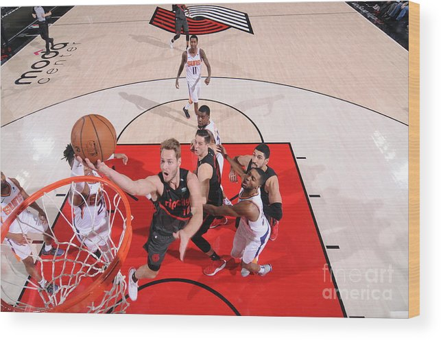 Meyers Leonard Wood Print featuring the photograph Meyers Leonard by Sam Forencich