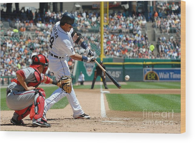 American League Baseball Wood Print featuring the photograph Miguel Cabrera by Mark Cunningham