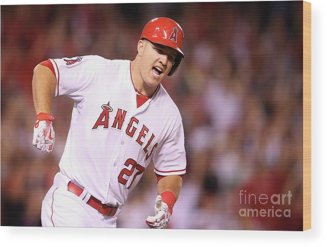Ninth Inning Wood Print featuring the photograph Mike Trout by Stephen Dunn