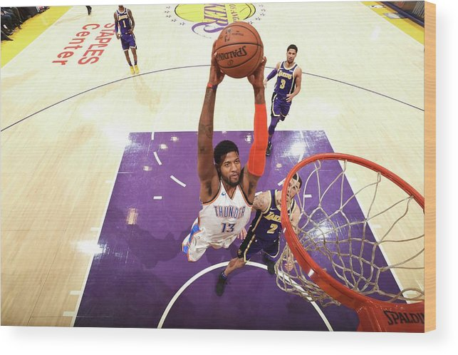 Nba Pro Basketball Wood Print featuring the photograph Paul George by Andrew D. Bernstein