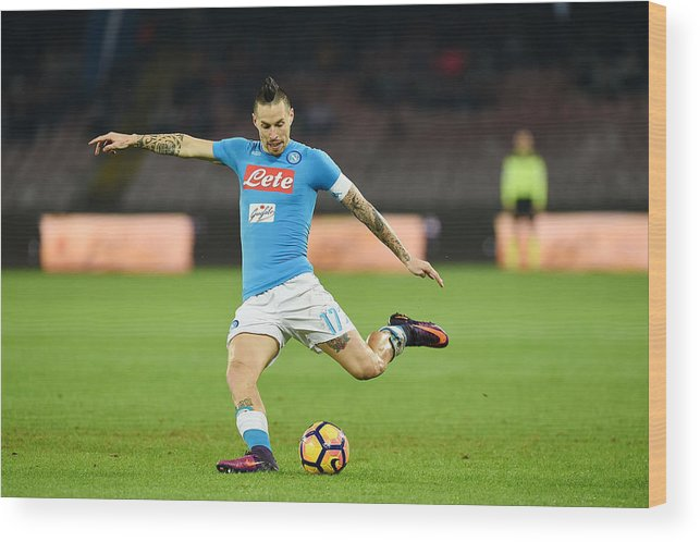 People Wood Print featuring the photograph SSC Napoli v US Sassuolo - Serie A by Francesco Pecoraro