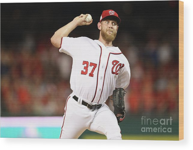 Three Quarter Length Wood Print featuring the photograph Stephen Strasburg by Patrick Smith