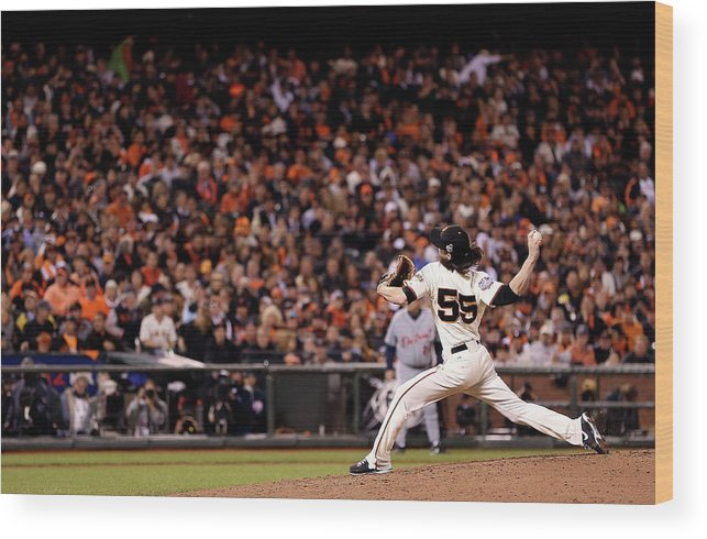 San Francisco Wood Print featuring the photograph Tim Lincecum by Christian Petersen