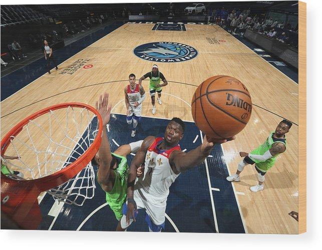 Nba Pro Basketball Wood Print featuring the photograph Zion Williamson by David Sherman