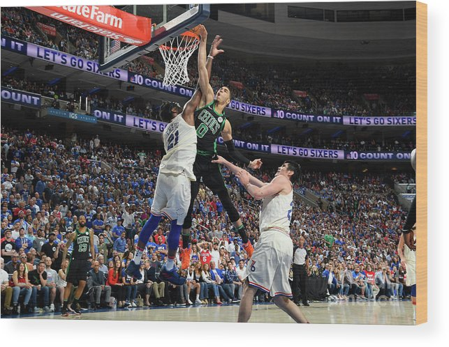 Playoffs Wood Print featuring the photograph Jayson Tatum by Brian Babineau