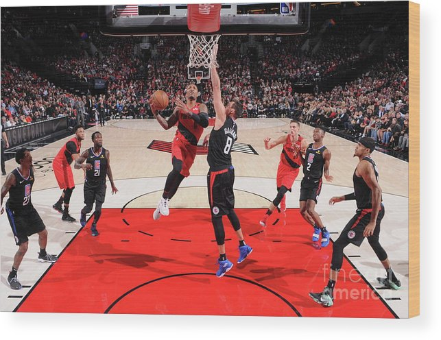 Nba Pro Basketball Wood Print featuring the photograph Damian Lillard by Sam Forencich