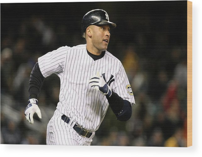 Playoffs Wood Print featuring the photograph Derek Jeter by Al Bello