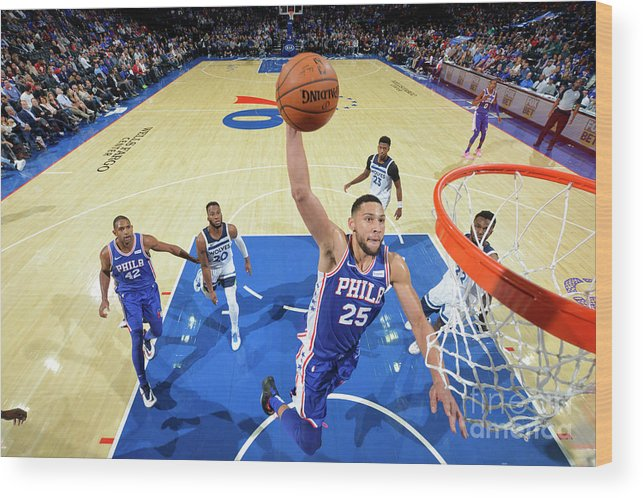 Nba Pro Basketball Wood Print featuring the photograph Ben Simmons by Jesse D. Garrabrant
