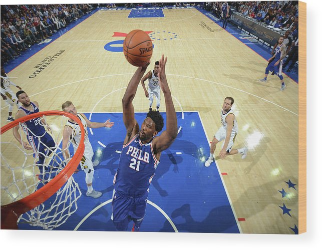 Nba Pro Basketball Wood Print featuring the photograph Joel Embiid by Jesse D. Garrabrant