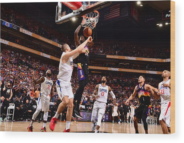 Playoffs Wood Print featuring the photograph 2021 NBA Playoffs - LA Clippers v Phoenix Suns by Barry Gossage