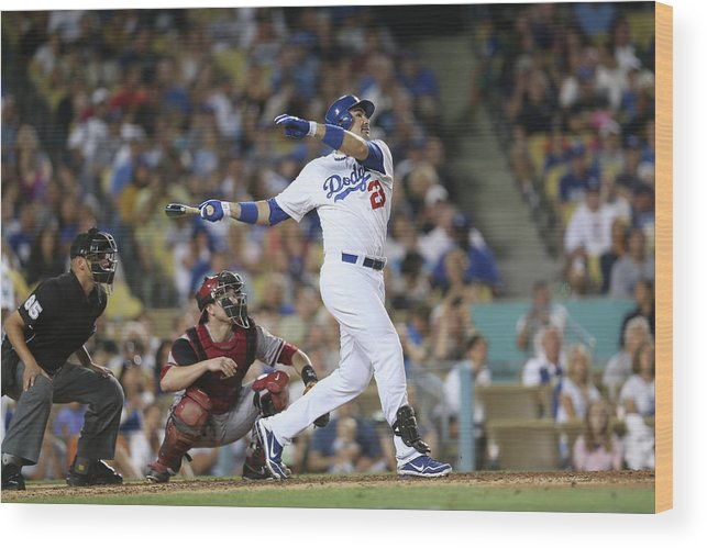 California Wood Print featuring the photograph Adrian Gonzalez by Stephen Dunn